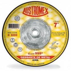 "DISCO DE DESBASTE DE METAL 7"" X 1/4"" X ROSCA 5/8"" (999) AUSTROMEX"
